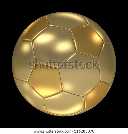 A golden soccer ball isolated on black background. Computer generated image with clipping path. - stock photo