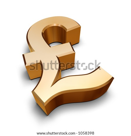 A golden Sterling Pound symbol isolated on a white background (3D rendering)