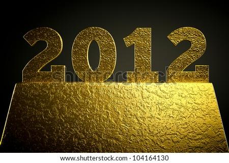 a golden 2012 symbol on black - stock photo