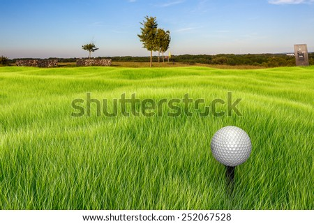 A golf ball on a tee infront of a landscape at a sunny day. The foreground turf and golf ball is rendered in 3D. - stock photo