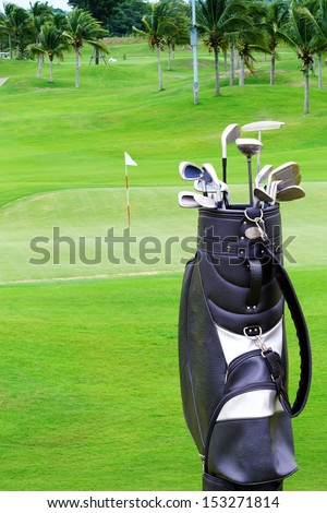 A golf course comprises a series of holes, each consisting of a teeing ground, a fairway, the rough and other hazards, and a  green with a flagstick  and hole, all designed for the game of golf