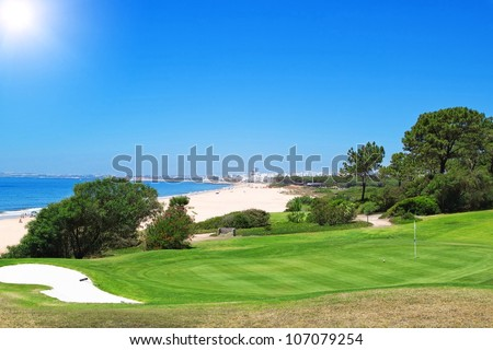 A golf course near the beach in Portugal. Summer. - stock photo