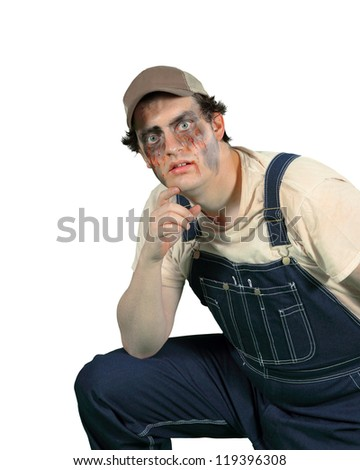 A goon looks at you with hungry curiosity separated on white - stock photo