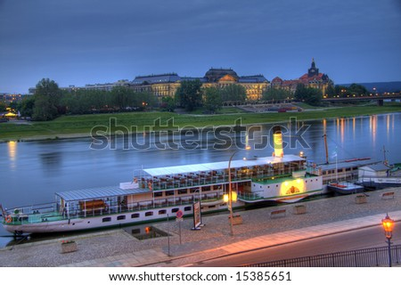 A gorgeous HDR image of a Dresden paddleboat - stock photo