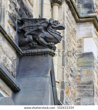 A Gothic looking gargoyle at the Parliament Building in Ottawa Canada - stock photo