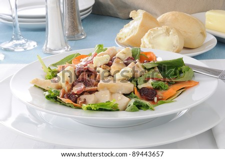 A gourmet salad with bacon bits bleu cheese, chicken, dried cherries and walnuts
