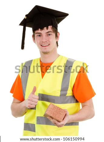 A graduate bricklayer, isolated on white - stock photo
