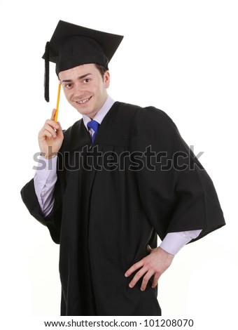 A graduate thinking with a pencil in his hand, isolated on white