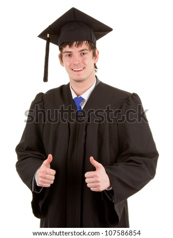 A graduate with a double thumbs up sign, isolated on white - stock photo
