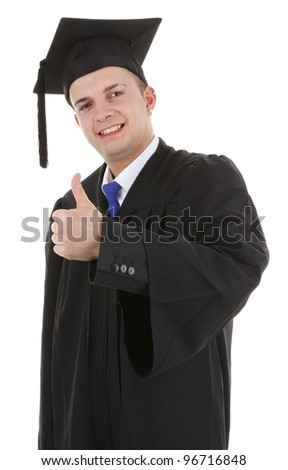A graduate with a thumbs up sign, isolated on white
