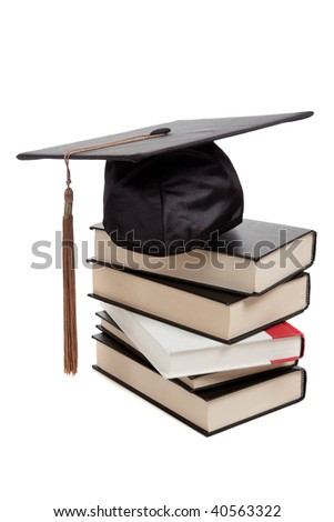 a graduation cap on top of a stack of books on a white background