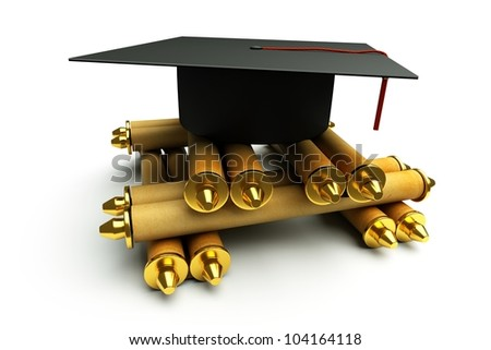 a graduation cap with heap of scrolls isolated on white - stock photo