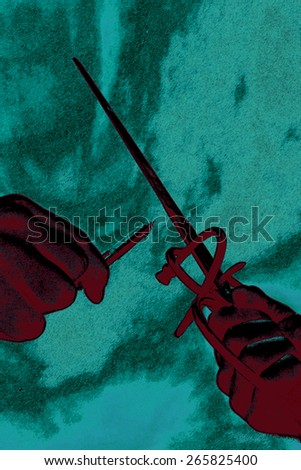"A grainy textured psychedelic photo illustration of the saying ""The Pen is Mightier than the Sword"". - stock photo"