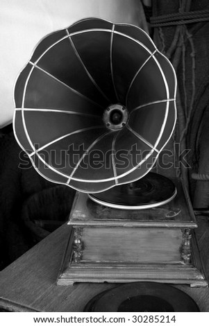 A gramophone in black and white
