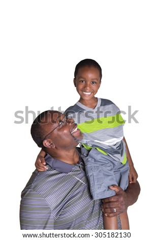 A grandfather holding his grandson on his shoulder