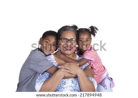 A grandmother and her grandchildren