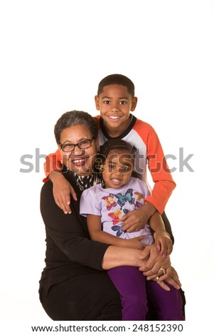 A grandmother and her grandchildren - stock photo