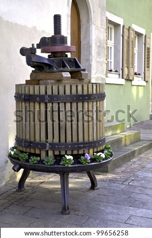 A grape press in Meersburg at the Lake Constance in South Germany - stock photo