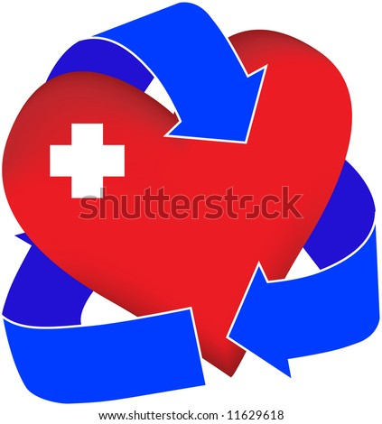 A graphic representation of a first-aid heart. Possible uses include illustrations for organ donation or first aid or cpr classes.