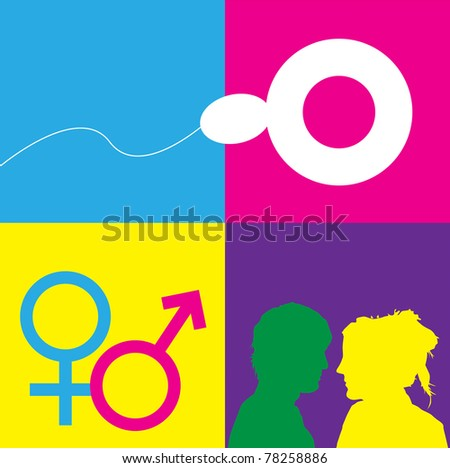 A graphic representation of sex, love and relationships between man and women in the context of sex education. Using text and graphics on bright colored blocks of color.