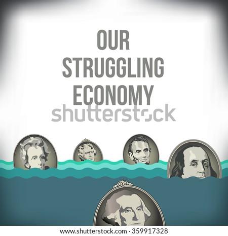 A graphic representation of the recession - stock photo