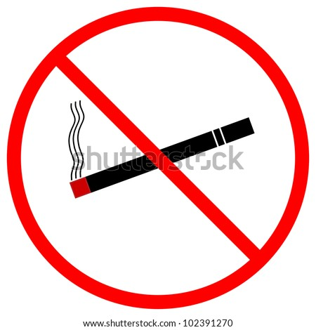 A graphic warning that smoking is prohibited, isolated on a solid white background.