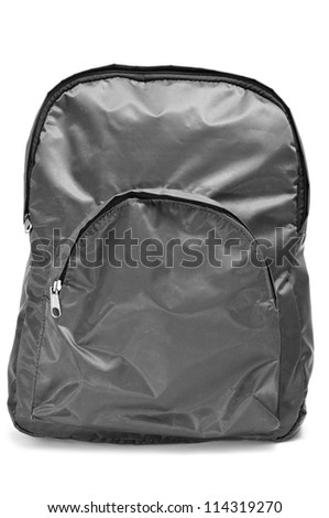 a gray backpack on a white background - stock photo