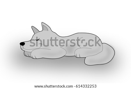 A gray dog or wolf lying and smiling when  he is sleeping.