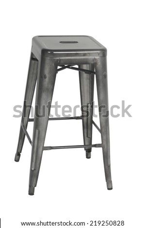 A gray industrial looking stool on a white background - stock photo