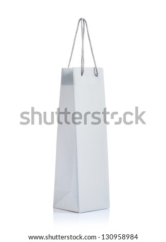 a gray paper bag - stock photo
