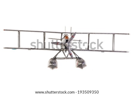 a gray seaplane model isolated over a white background - stock photo