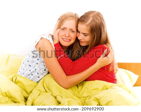 A great friend is always a support in hard moments. - stock photo