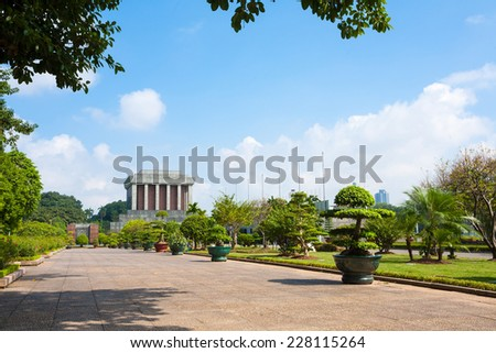 A great landscape in Ho Chi Minh mausoleum .Hanoi- Capital of Vietnam - stock photo