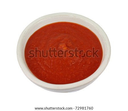 A great view pureed fresh chopped tomato sauce. - stock photo