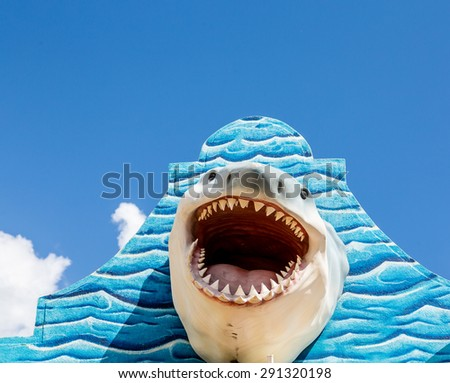 A great white shark mounted on a blue wall - stock photo