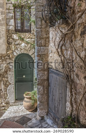 A green arched wooden front door in an old stone house with a vine growing up the adjacent wall - stock photo