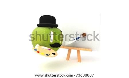 A green artistic apple painting on a painter's easel. - stock photo