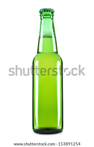 A green bottle of beer isolated over a white background. - stock photo