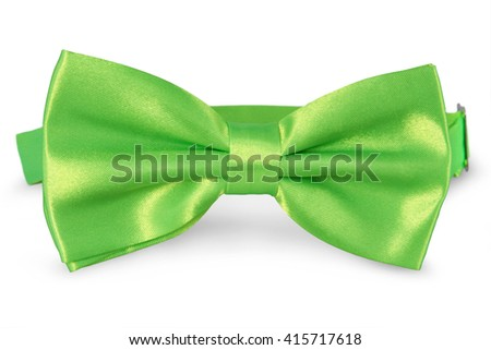 A green bow Tie, isolated on white background - stock photo