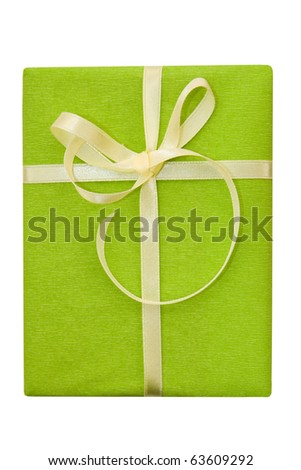 A green box tied with a yellow satin ribbon bow. A gift for Christmas, Birthday, Wedding, or Valentine's day. Isolated on white with clipping path. - stock photo