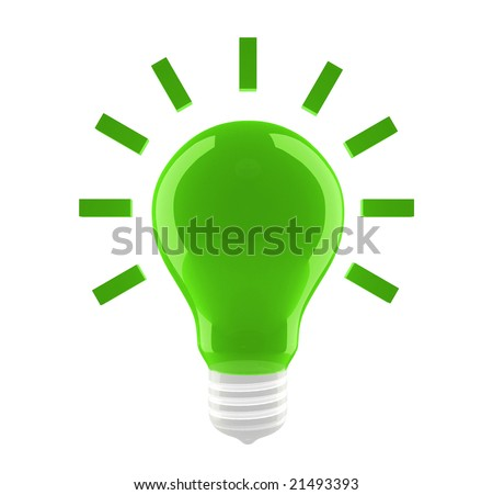 A green bulb with conventionalized shine on white background. For other similar images from the series, please, check my portfolio.