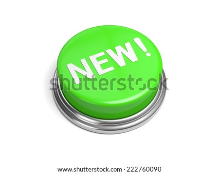 A green button with the new on it - stock photo