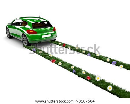 A green car drive and create grass with flowers - stock photo