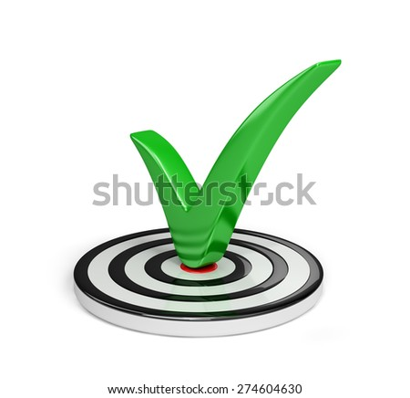 A green check mark in the center of the circle. 3d image. White background. - stock photo