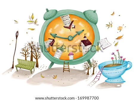 A green clock filled with houses is surrounded by a bench, trees, and a tea cup. - stock photo