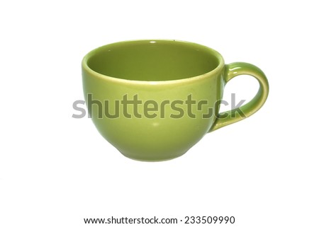 A green coffee cup on white background