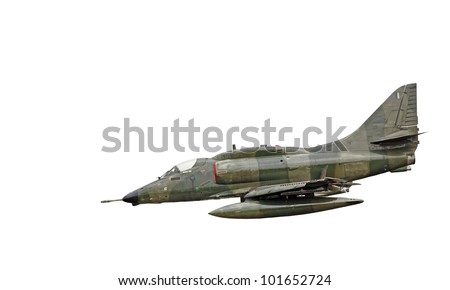 A green colored camouflage Douglas A-4 Skyhawk fighter jet plane of the A4C variant, isolated against white. - stock photo