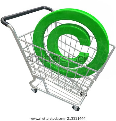 A green 3d copyright symbol in a shopping cart illustrating the purchase or buying legally protected intellectual property - stock photo