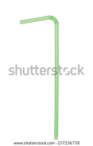 A Green Drinking Straw Isolated on a White Background  - stock photo