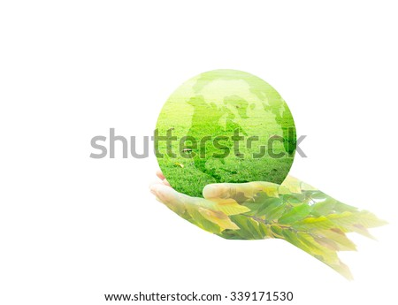 A green earth globe of grass in human hands and beautiful leaves. World Environment Day Ecology Education Business Charity Donation Eco Friendly Ecofriendly Earth Hour Go Green CSR Spring Time concept - stock photo